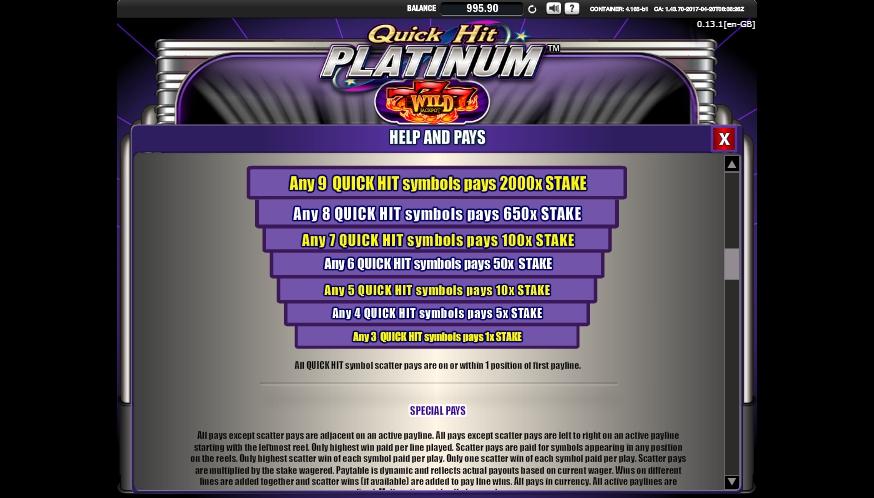 Bally Quick Hits Platinum